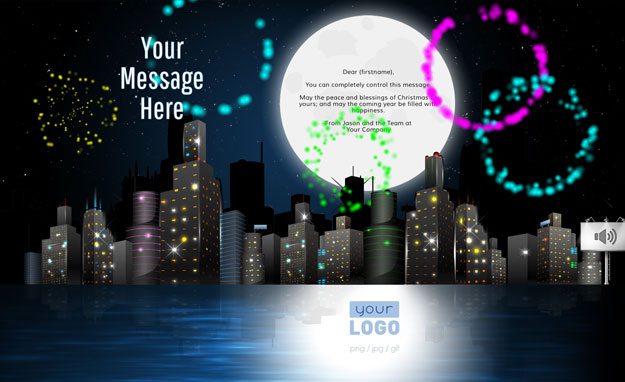 Corporate Holiday eCards for Business with logo 2016: Animated City