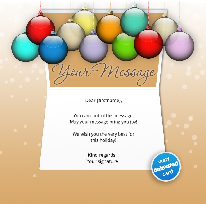 Animated Webpage eCards for Business: Animated Glass Baubles