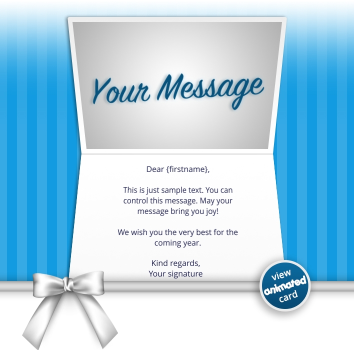 Interactive Thank You/Anniverdary/Employee Recognition eCards for Business: Birthday Bow Blue eMail