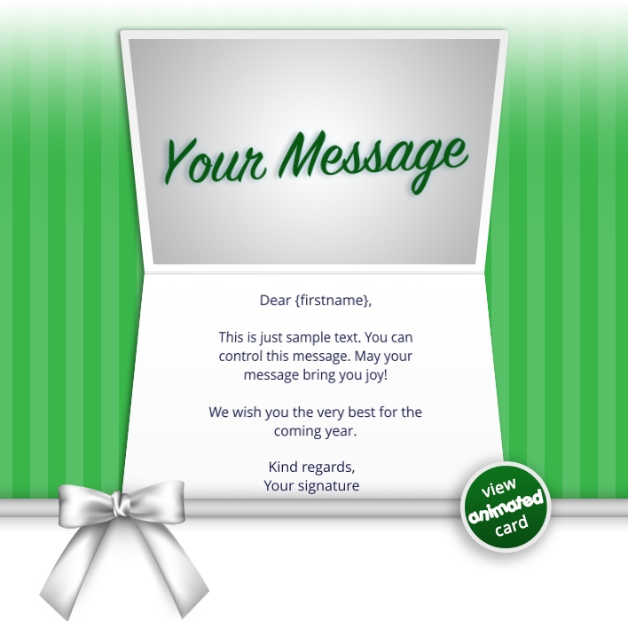 Interactive Thank You/Anniverdary/Employee Recognition eCards for Business: Animated Thank You Bow Green