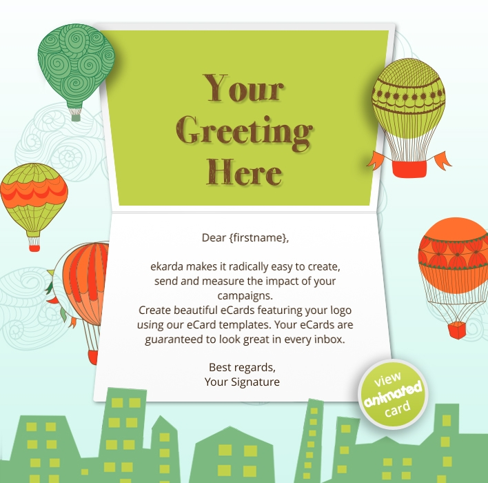 Animated Webpage eCards for Business:  New Year Balloon Ride