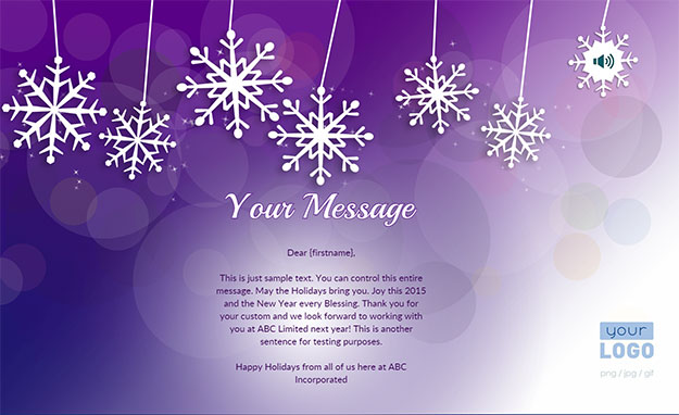 Corporate Holiday eCards for Business with logo 2016: Animated Purple Snowflakes