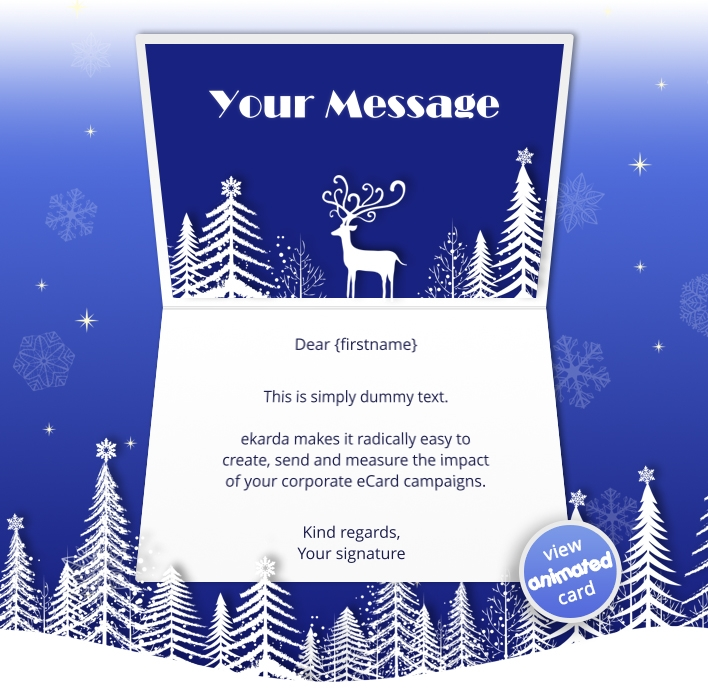 Corporate Holiday eCards for Business with logo 2016: Animated Snow Deer