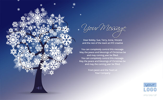 Corporate Holiday eCards for Business with logo 2016: Animated Snow Tree