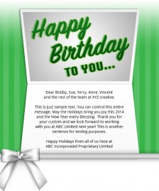 Static Company Birthday eCards eCards for Business: Birthday Bow Green
