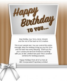 Static Company Birthday eCards eCards for Business: Birthday Bow Brown