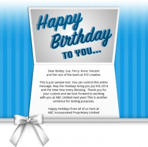 Static Company Birthday eCards eCards for Business: Birthday Bow Blue