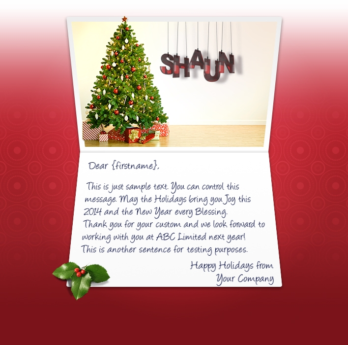 Static Christmas eCards for Business: White Wall