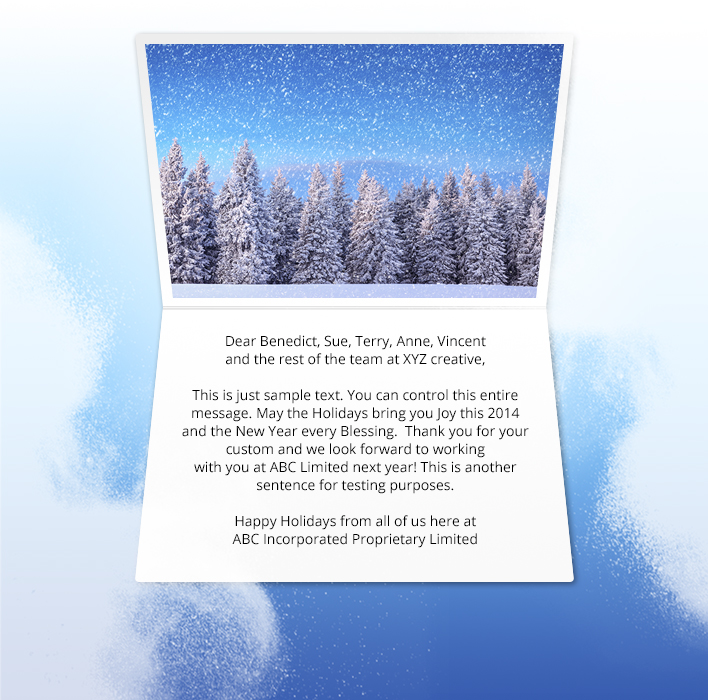 Holiday eCards Gallery Static eCards for Business: Blue Sky and Trees