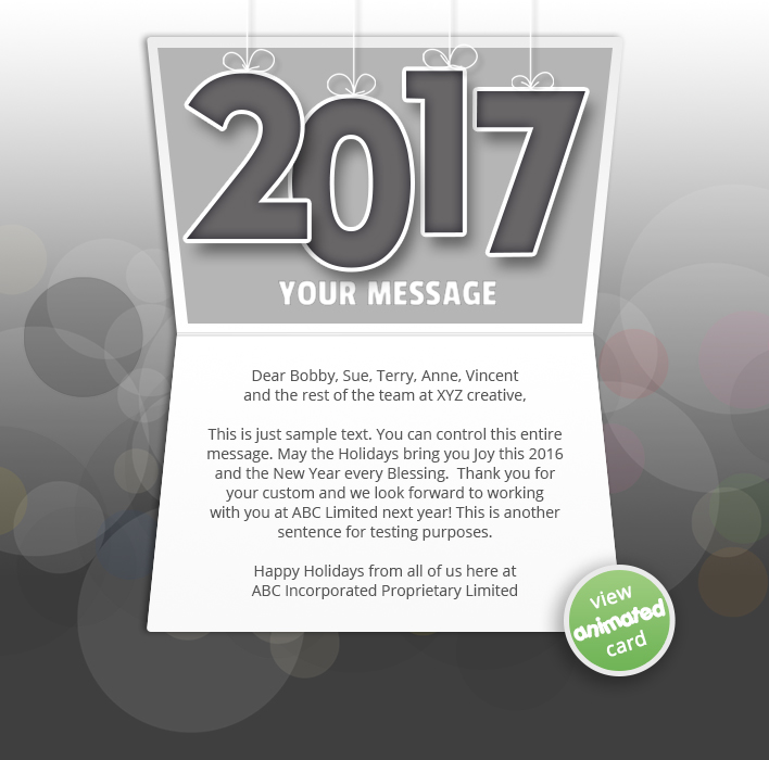 Animated Webpage eCards for Business:  New Year Dark 2017