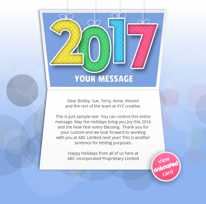 Animated Webpage eCards for Business: New Year Colour 2017