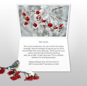 Holiday eCards Gallery Static eCards for Business: Berries and Bird