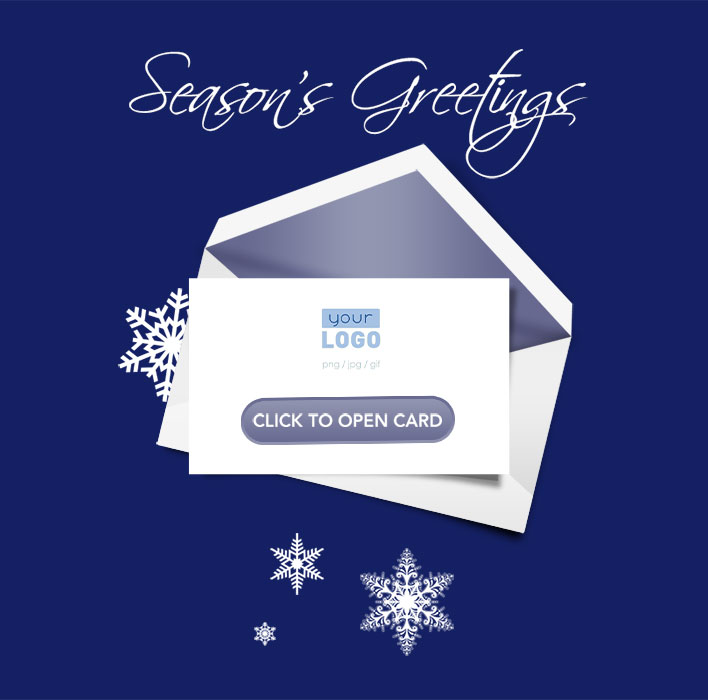 Corporate Holiday eCards for Business with logo 2016: Animated Snow Tree Teaser