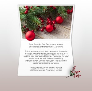 Static Christmas eCards for Business: Natural Bauble