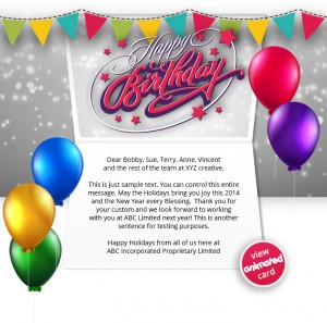 HTML5 Corporate Birthday eCard eCards for Business: Birthday Flags eMail