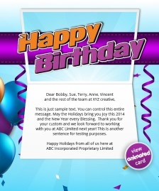 HTML5 Corporate Birthday eCard eCards for Business: Birthday Streamers eMail