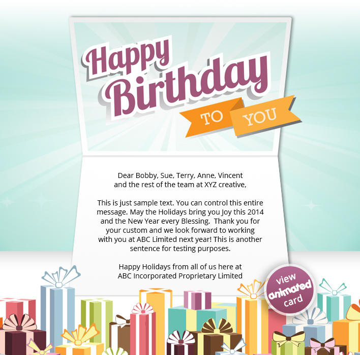 HTML5 Corporate Birthday eCard eCards for Business: Birthday Gifts eMail