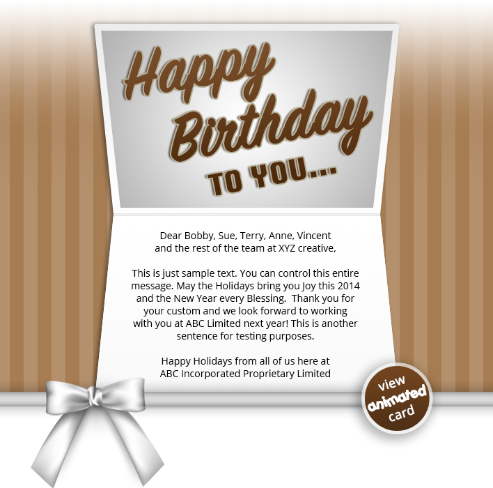 HTML5 Corporate Birthday eCard eCards for Business: Birthday Bow BRN eMail