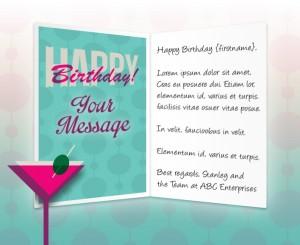 Static Company Birthday eCards eCards for Business: Birthday Martini