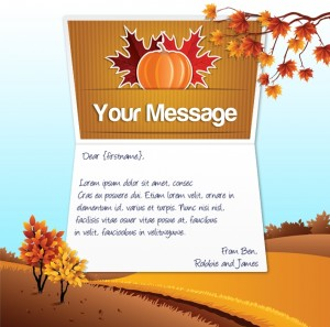 Thanksgiving eCards for Business: Pumpkin and Leaves