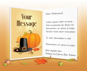 Thanksgiving eCards for Business: Pilgrims Hat