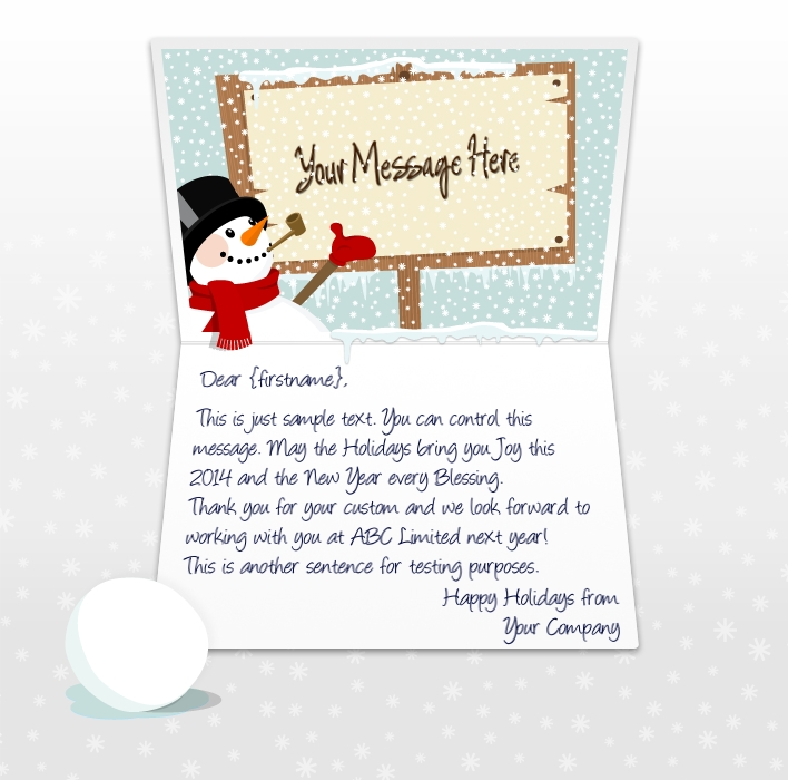 Static Christmas eCards for Business: Snowman and Sign EU