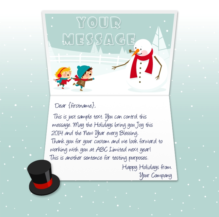 Static Christmas eCards for Business: Snowman and Kids EU