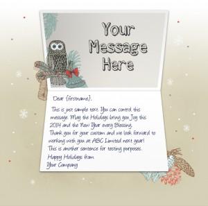 Company Christmas Cards eCards for Business: Owl and Bells EU