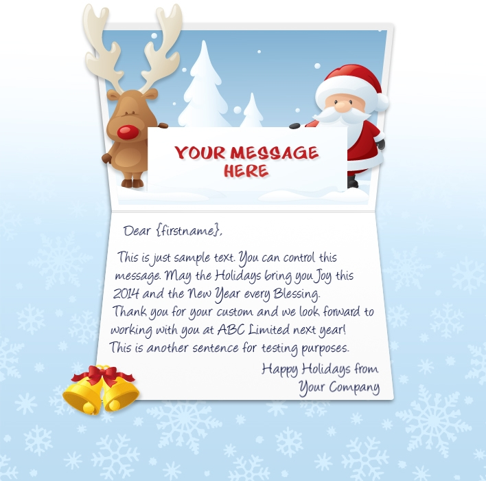 Static Christmas eCards for Business: Reindeer and Santa