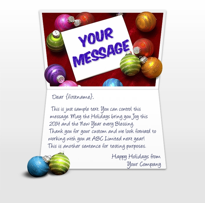 Static Christmas eCards for Business: Card and Balls EU
