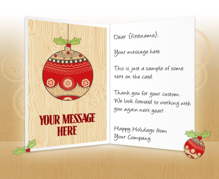 Static Christmas eCards for Business: Bauble and Holly EU