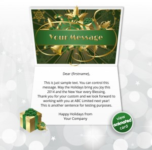 Interactive Christmas HTML5 eCard eCards for Business: Animated Ribbon Green