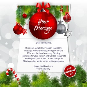 Interactive Christmas HTML5 eCard eCards for Business: Animated Baubles Red