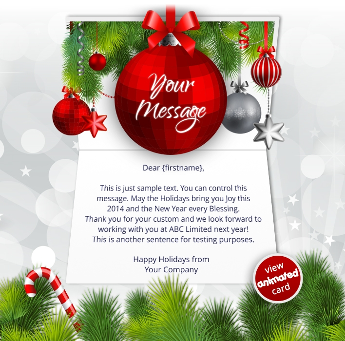 Animated Webpage eCards for Business: Animated Red Baubles