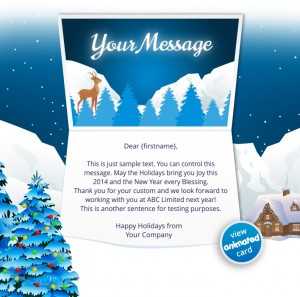 Interactive Christmas HTML5 eCard eCards for Business:  Animated Mountains Tree