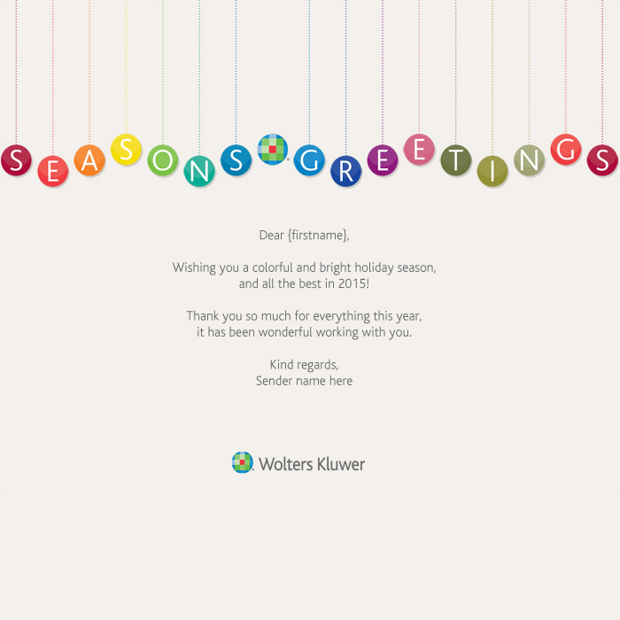Custom Holiday eCard eCards for Business: Wolters Kluwer
