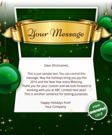 Interactive Christmas HTML5 eCard eCards for Business: Animated Banner Green