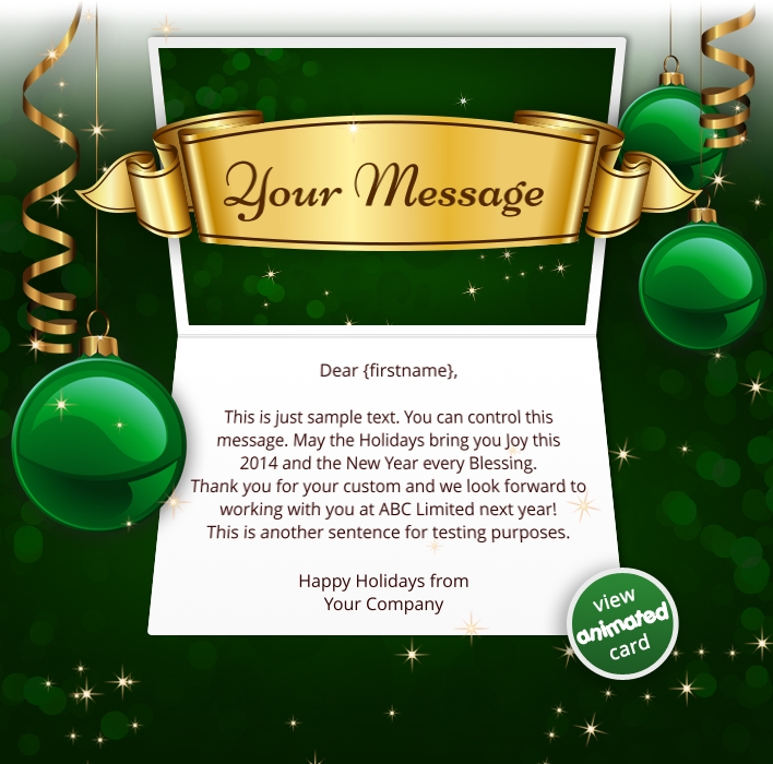 Animated Webpage eCards for Business: Animated Banner Green