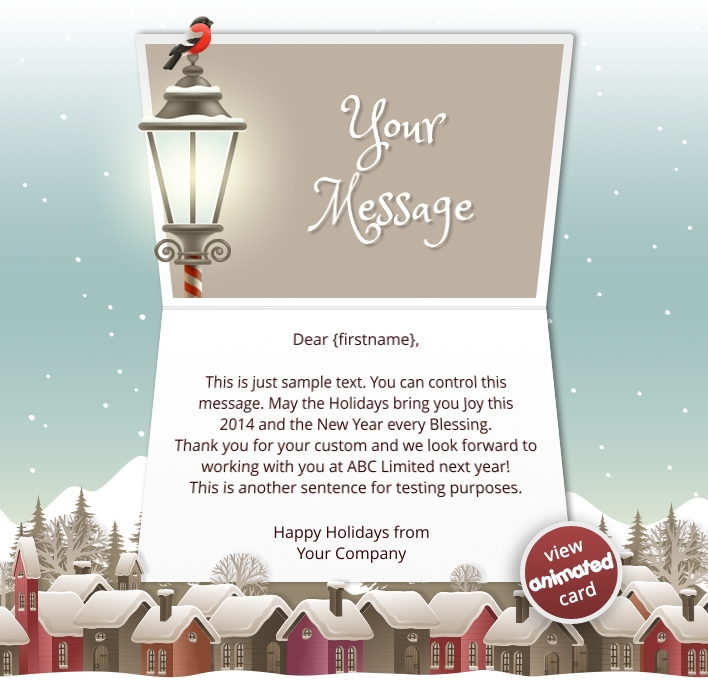 Interactive Christmas HTML5 eCard eCards for Business: Animated Houses