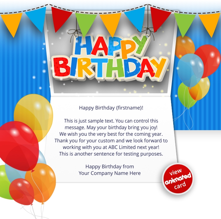 HTML5 Birthday eCards for Business: Birthday Balloons eMail