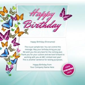 Custom Corporate Birthday eCards eCards for Business: Animated Birthday Butterflies