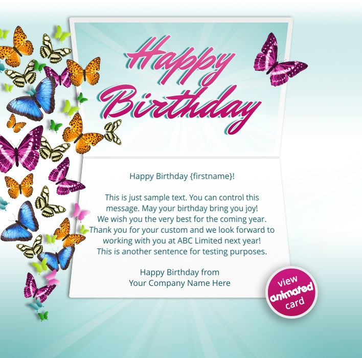 HTML5 Birthday eCards for Business: Birthday Butterflies Email