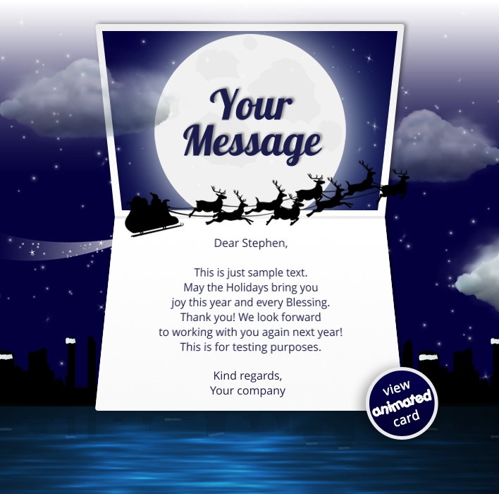 Animated Webpage eCards for Business: Animated Sleigh
