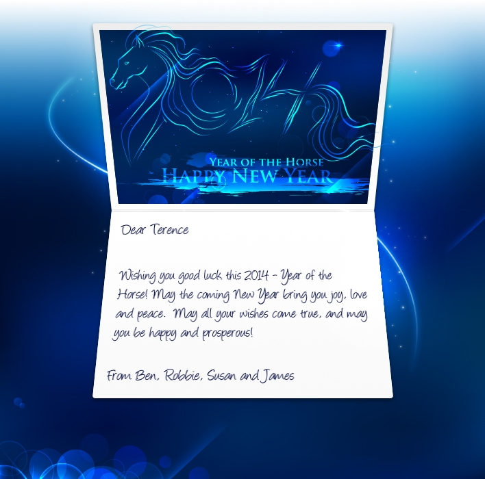 Chinese New Year eCards for Business: Blue Horse