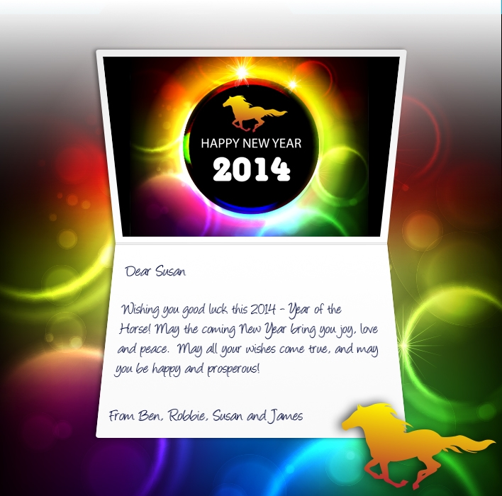 Chinese New Year eCards for Business: Rainbow Pony