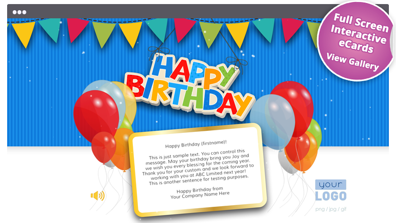 Elegantly Simple Corporate Birthday ECards