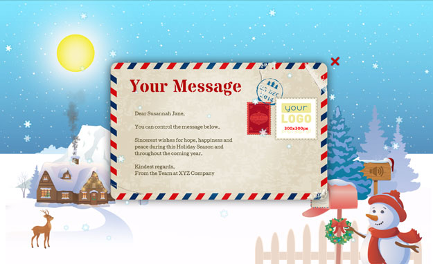Corporate Holiday eCards for Business with logo 2016: Animated Letter