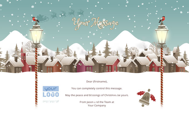 Corporate Holiday eCards for Business with logo 2016: Animated Houses