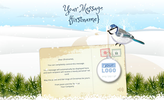 Corporate Holiday eCards for Business with logo 2016: Animated Robin