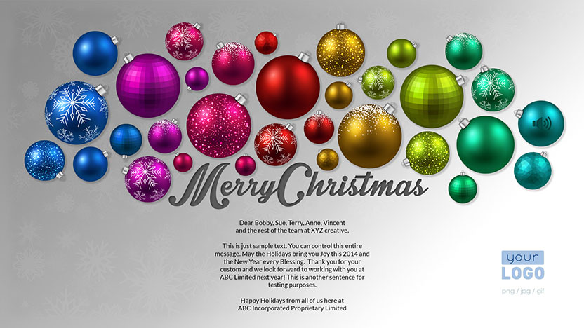 Baubles Corporate Christmas Holiday eCard 2015